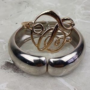 Jewelry - 2 Metal Gold-tone& Silver-tone Cuff Bracelets